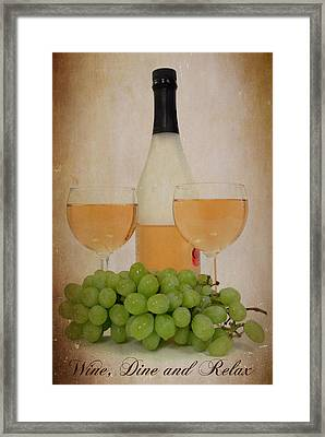 Wine And Dine Framed Print by Cindy Haggerty