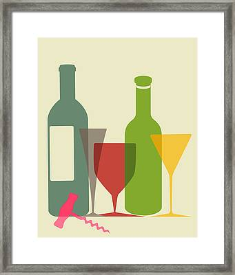 Wine And Dine Framed Print by Ramneek Narang