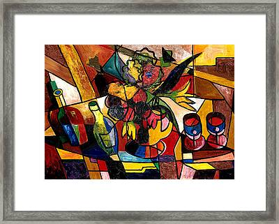 Wine And Flowers For Two Framed Print by Everett Spruill