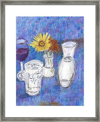 Wine And Flowers Framed Print