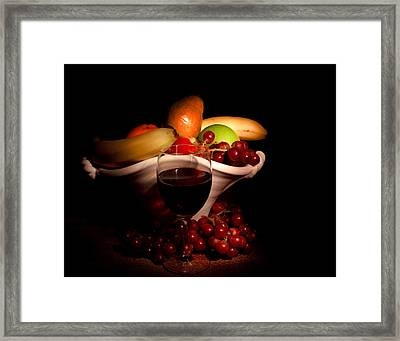 Wine And Fruit Framed Print by Cecil Fuselier