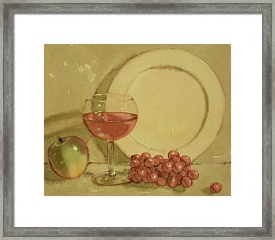 Wine And Plate Framed Print