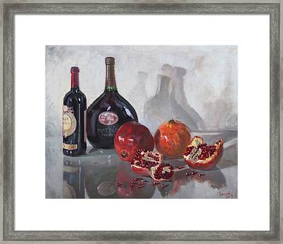 Wine And Pomegranates Framed Print by Ylli Haruni