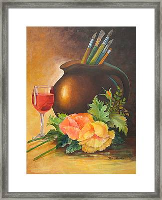 Wine And Poppies Framed Print by Beverly Martin