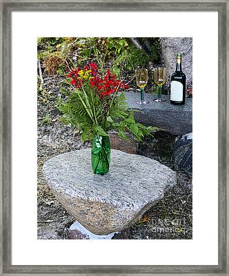 Wine And Red Flowers On The Rocks Framed Print