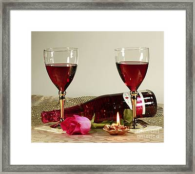 Wine And Rose By Candlelight Framed Print