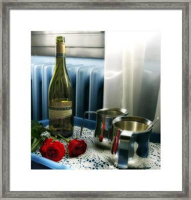 Red Roses And Chardonay Bottle Framed Print by Ginger Wakem