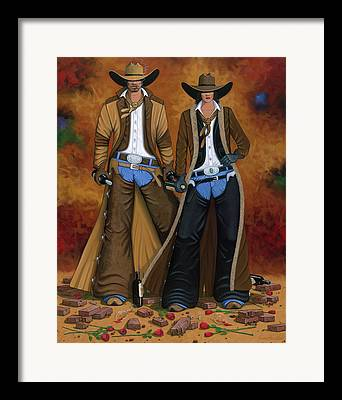 Cowgirl And Cowboy Framed Prints