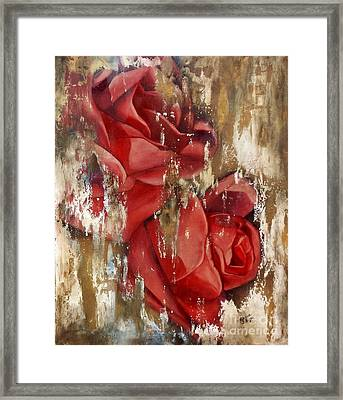 Wine And Roses Framed Print by Rebecca Glaze