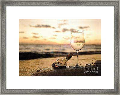 Wine And Sunset Framed Print by Jon Neidert