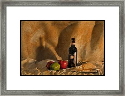 Wine Apples And Cheese Framed Print by Paulette B Wright