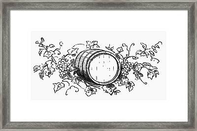 Wine Barrel Among Grapes And Vine Leaves (illustration) Framed Print
