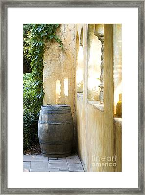 Wine Barrel At The Vineyard Framed Print