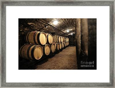 Wine Barrels In A Cellar. Cote D'or. Burgundy. France. Europe Framed Print by Bernard Jaubert