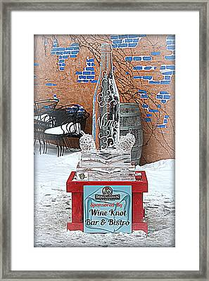 Wine Bottle Ice Sculpture Framed Print by Kay Novy