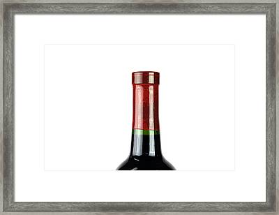 Wine Bottle Isolated On White Framed Print by Michael Ledray