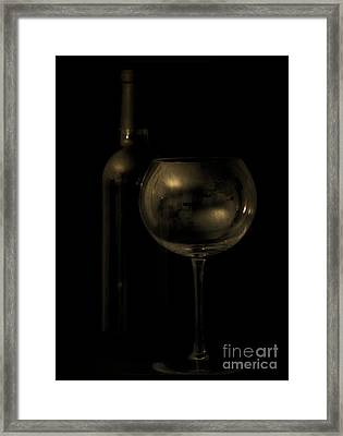 Wine Bottle Still Life Deep Red Framed Print by Edward Fielding