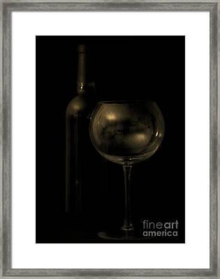 Wine Bottle Still Life Deep Red Framed Print
