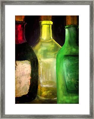 Wine Bottle Trio Framed Print by C Fanous