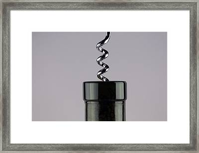 Wine Bottle With Corkscrew Framed Print by Michael Ledray