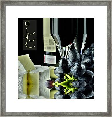 Wine Bottle With Glass Framed Print
