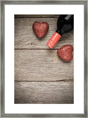 Wine Bottle With Hearts For Valentine's Day Framed Print by Brandon Bourdages