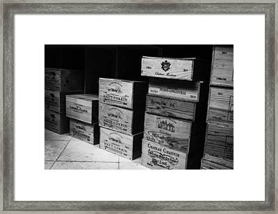 Wine Boxes Black And White Framed Print by Georgia Fowler