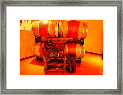 Wine Casks And A Grape Crusher Framed Print