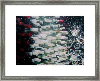 Wine Cellar, 2012 Acrylic On Canvas Framed Print by Lincoln Seligman