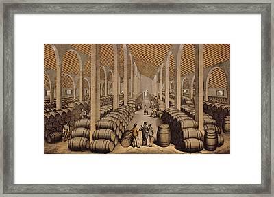 Wine Cellar At Jerez De La Frontera  Framed Print by Spanish School