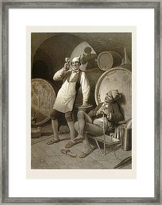 Wine Cellar, Drinking A Glass Of Wine, Two Men, Wine Framed Print by English School