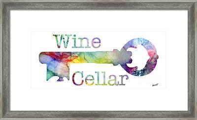 Wine Cellar Watercolor Framed Print by Jon Neidert