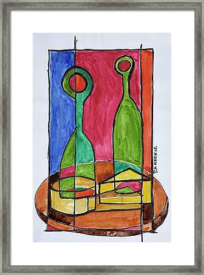 Wine, Cheese And Baguette Lunch, Paris Framed Print