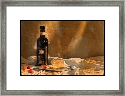 Wine Cherries And Cheese Framed Print by Paulette B Wright