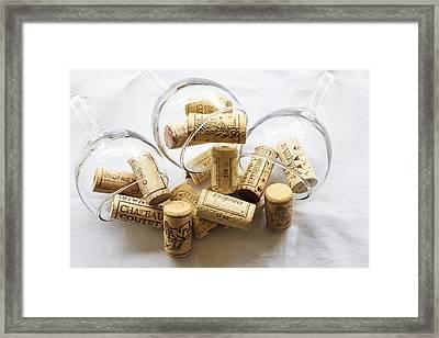 Wine Corks And Wine Glasses  Framed Print