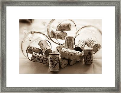 Wine Corks And Wine Glasses Toned Framed Print by Georgia Fowler
