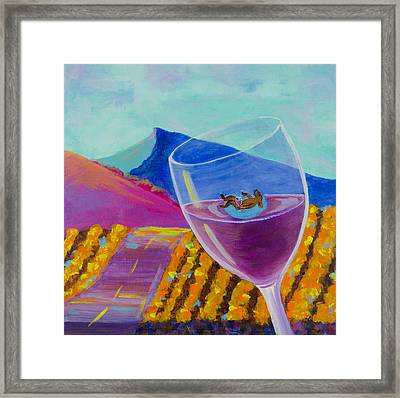 Wine Country Dog Party Framed Print by Deb Breton
