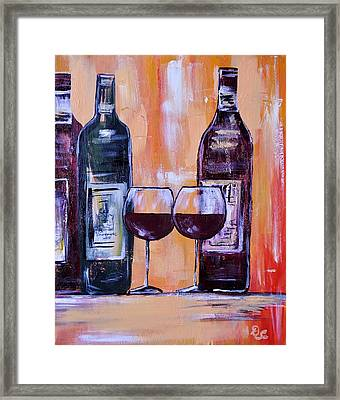 Wine For Two Framed Print by Diana  Cordova