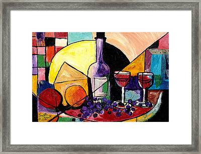 Wine Fruit And Cheese For Two Framed Print by Everett Spruill