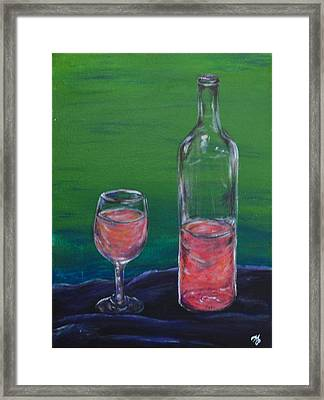 Wine Glass And Bottle Framed Print