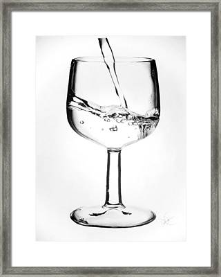 Wine Glass Of Water Framed Print by Desire Doecette