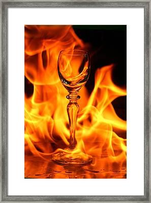 Wine Glass On Fire Framed Print