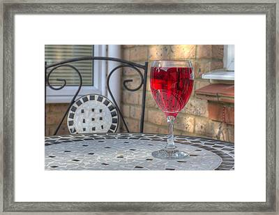 Wine Glass On Table Al Fresco Framed Print by Fizzy Image