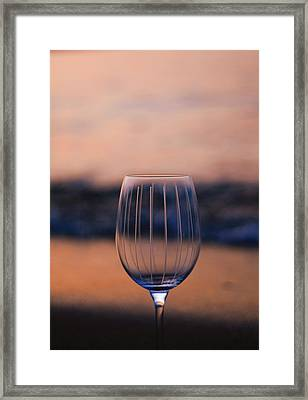 Wine Glass On The Beach At Sunset Framed Print by Dan Sproul