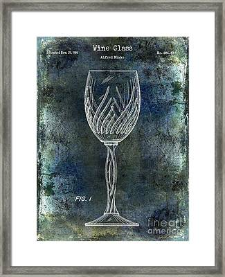 Wine Glass Patent Drawing Antique Blue Framed Print