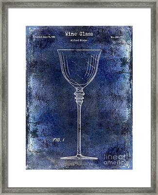 Wine Glass Patent Drawing Blue Framed Print by Jon Neidert