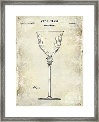 Wine Glass Patent Drawing Framed Print by Jon Neidert