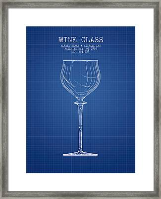Wine Glass Patent From 1986 - Blueprint Framed Print by Aged Pixel