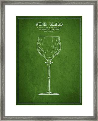 Wine Glass Patent From 1986 - Green Framed Print by Aged Pixel