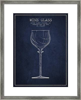 Wine Glass Patent From 1986 - Navy Blue Framed Print by Aged Pixel